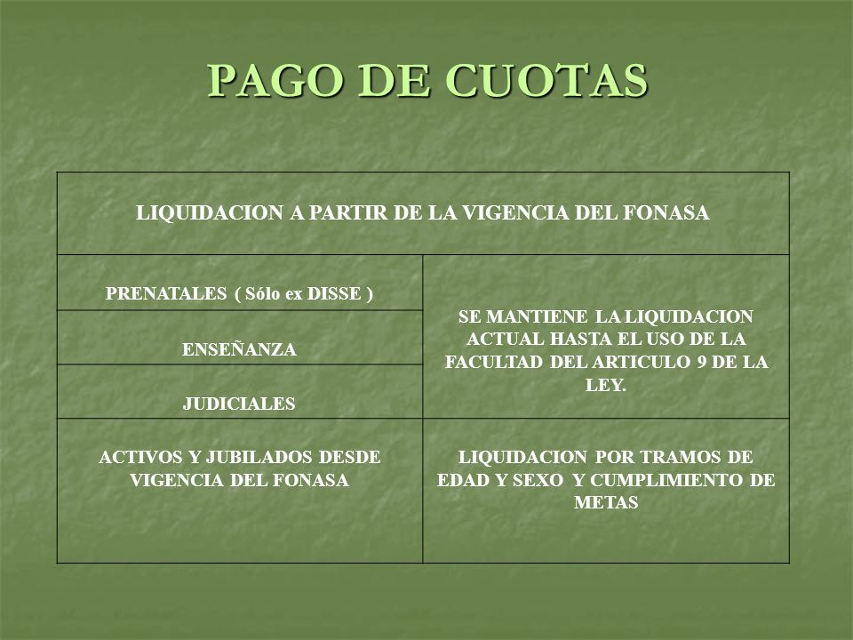 LIQUIDACION A PARTIR DE LA VIGENCIA DEL FONASA PRENATALES ( Sólo ex DISSE ) SE MANTIENE LA LIQUIDACION ACTUAL HASTA EL USO DE LA FACULTAD DEL ARTICULO 9 DE LA LEY.