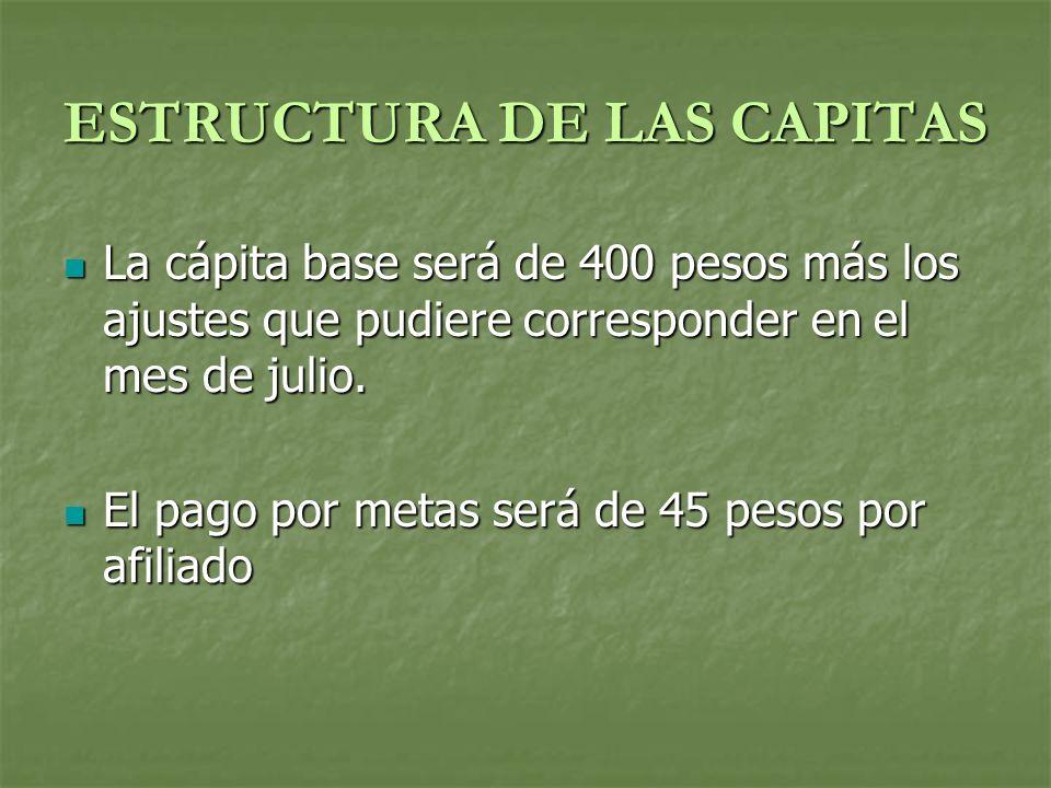 ESTRUCTURA DE LAS CAPITAS La cápita base será de 400 pesos más los ajustes que pudiere corresponder en el mes de julio.
