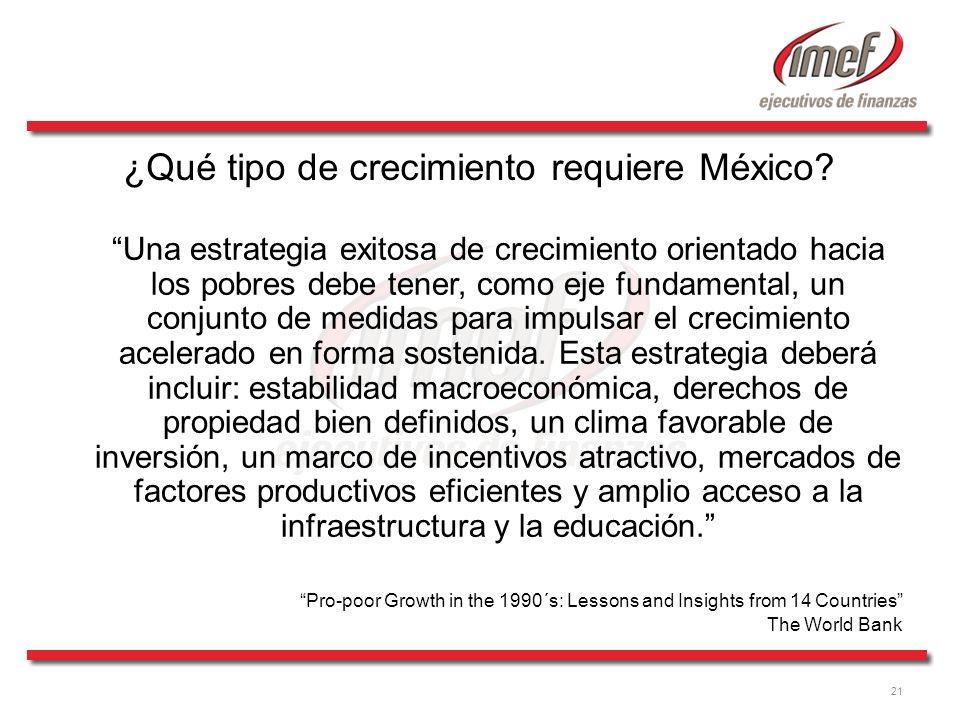 21 ¿Qué tipo de crecimiento requiere México? Una estrategia exitosa de crecimiento orientado hacia los pobres debe tener, como eje fundamental, un con