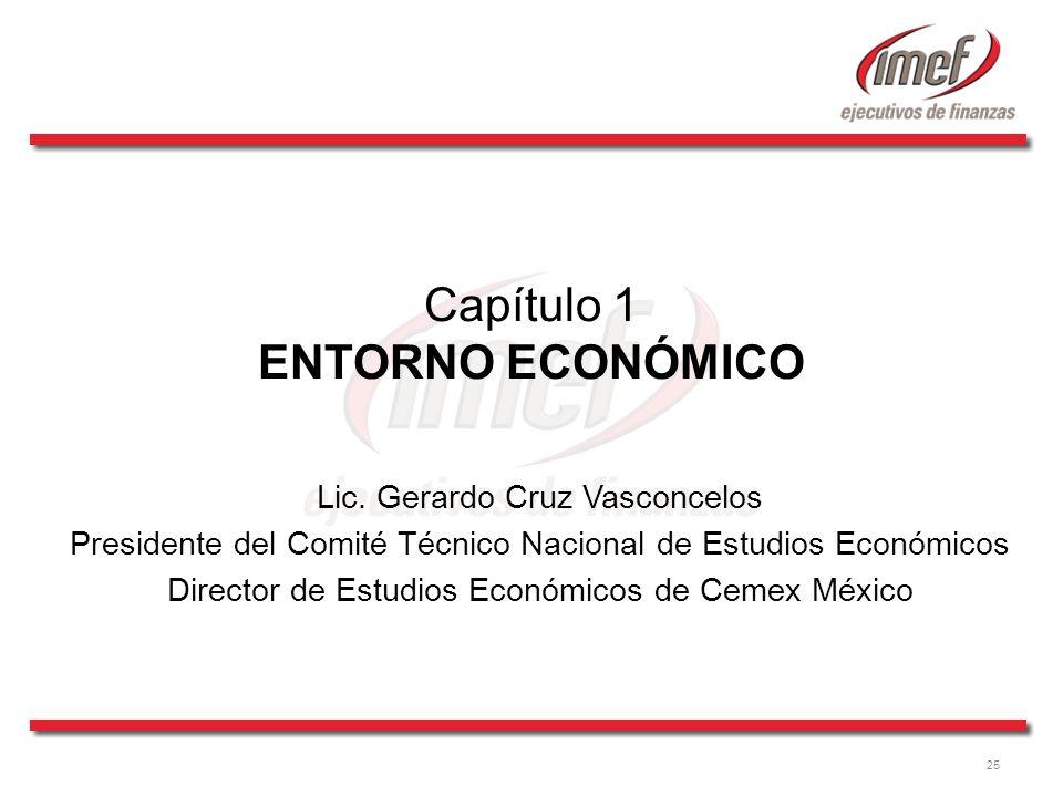 25 Capítulo 1 ENTORNO ECONÓMICO Lic. Gerardo Cruz Vasconcelos Presidente del Comité Técnico Nacional de Estudios Económicos Director de Estudios Econó