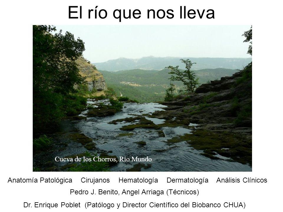 El río que nos lleva Pedro J. Benito, Angel Arriaga (Técnicos) Dr. Enrique Poblet (Patólogo y Director Científico del Biobanco CHUA) Anatomía Patológi