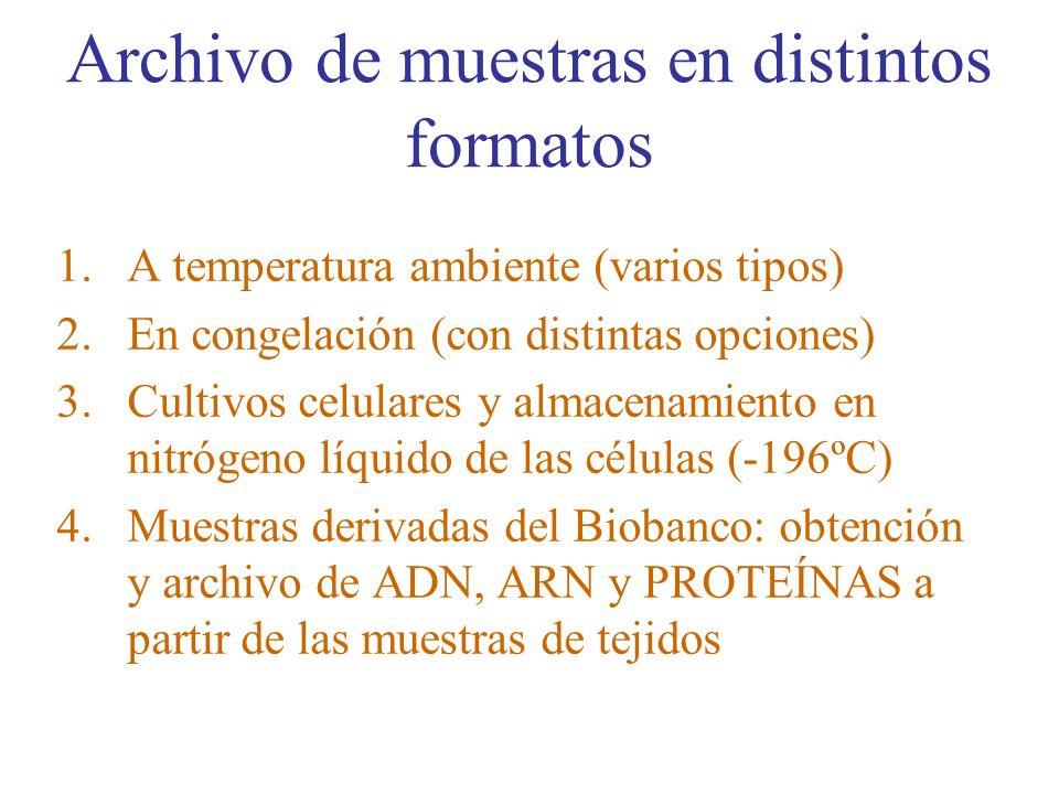 Archivo de muestras en distintos formatos 1.A temperatura ambiente (varios tipos) 2.En congelación (con distintas opciones) 3.Cultivos celulares y alm