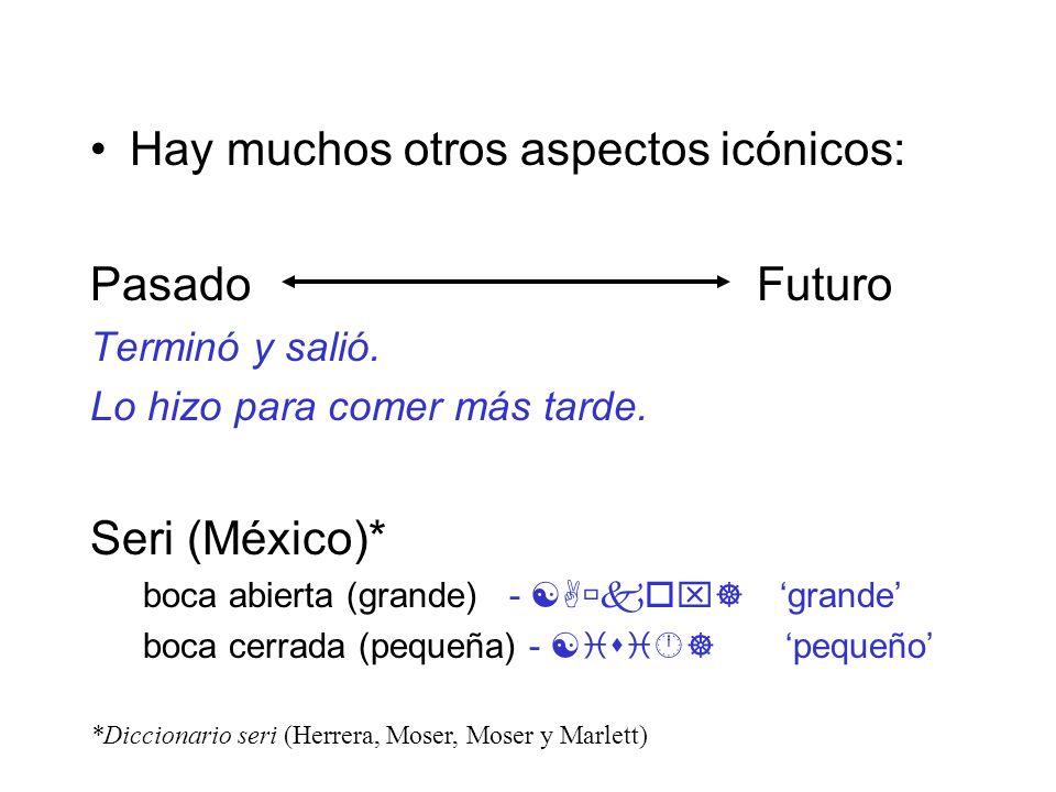 Hay muchos otros aspectos icónicos: Pasado Futuro Terminó y salió. Lo hizo para comer más tarde. Seri (México)* boca abierta (grande) - [A kox] grande