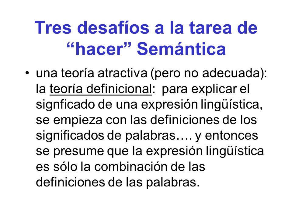 Tres desafíos a la tarea de hacer Semántica una teoría atractiva (pero no adecuada): la teoría definicional: para explicar el signficado de una expres