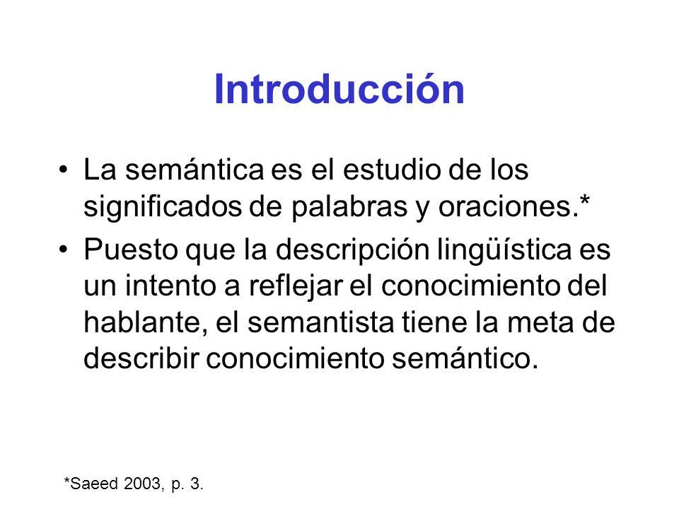 Introducción La semántica es el estudio de los significados de palabras y oraciones.* Puesto que la descripción lingüística es un intento a reflejar e