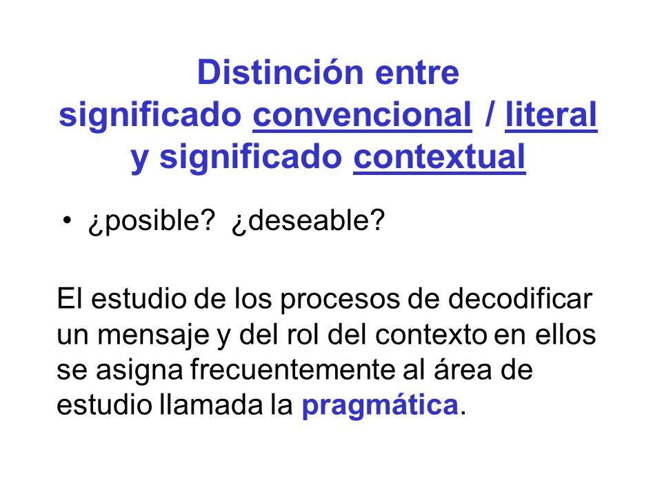 Distinción entre significado convencional / literal y significado contextual ¿posible? ¿deseable? El estudio de los procesos de decodificar un mensaje