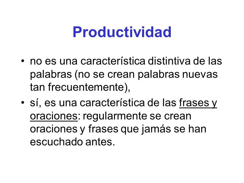 Productividad no es una característica distintiva de las palabras (no se crean palabras nuevas tan frecuentemente), sí, es una característica de las f