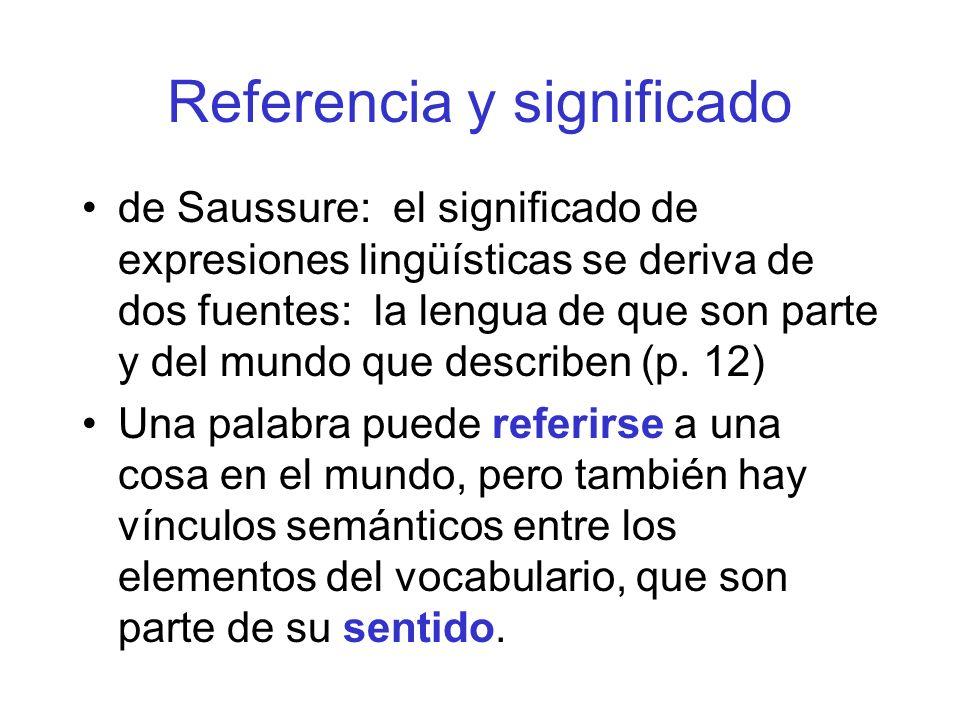 Referencia y significado de Saussure: el significado de expresiones lingüísticas se deriva de dos fuentes: la lengua de que son parte y del mundo que