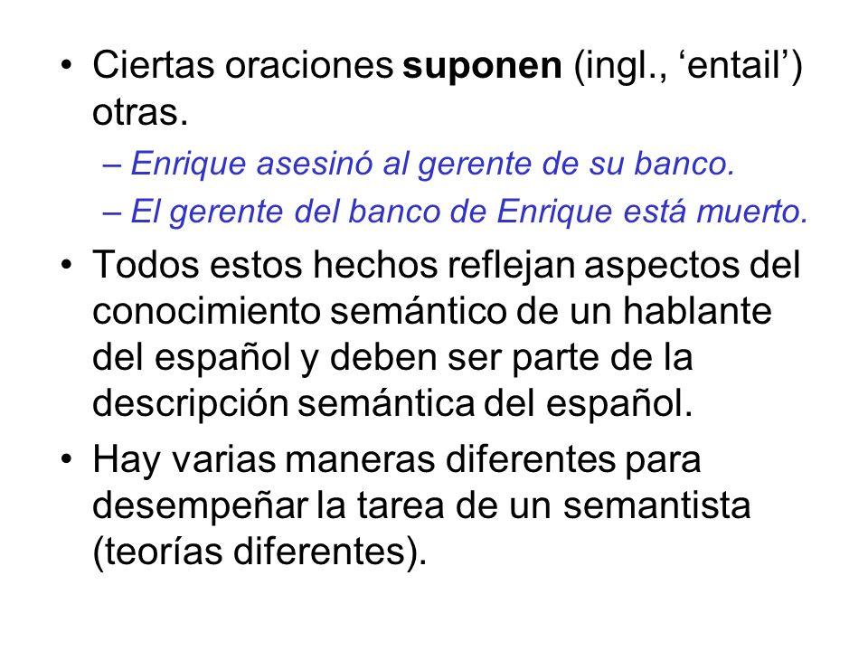 Ciertas oraciones suponen (ingl., entail) otras. –Enrique asesinó al gerente de su banco. –El gerente del banco de Enrique está muerto. Todos estos he
