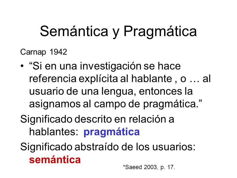 Semántica y Pragmática Carnap 1942 Si en una investigación se hace referencia explícita al hablante, o … al usuario de una lengua, entonces la asignam