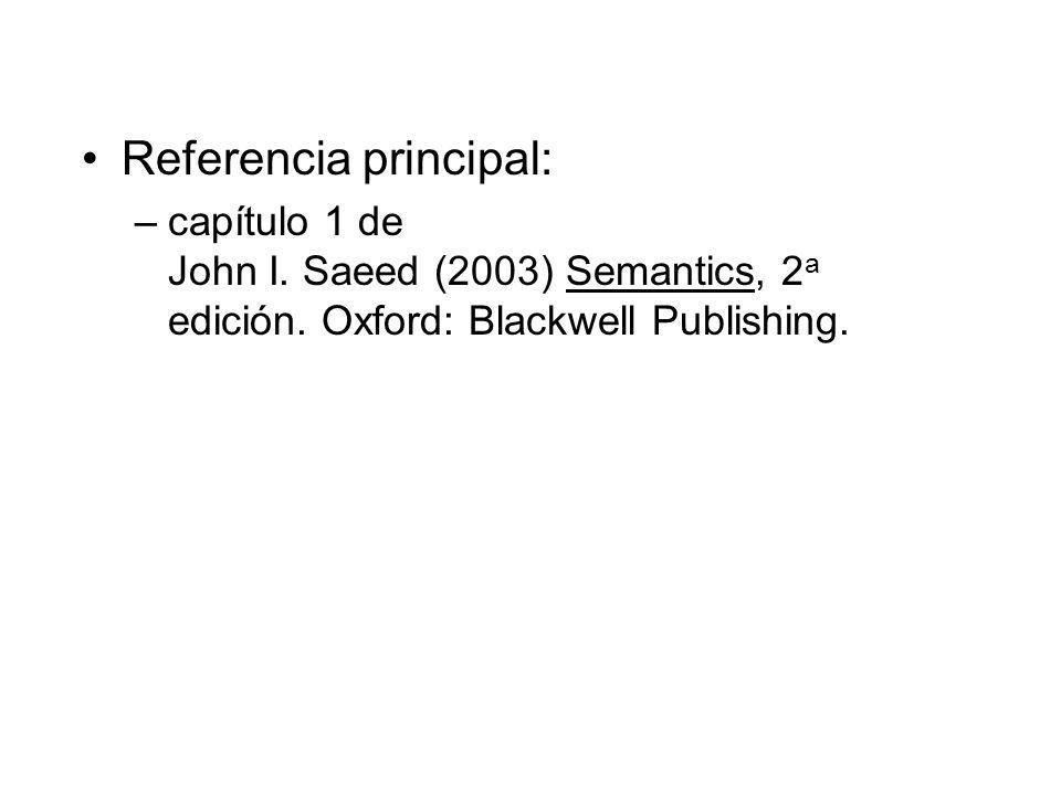 Referencia principal: –capítulo 1 de John I. Saeed (2003) Semantics, 2 a edición. Oxford: Blackwell Publishing.