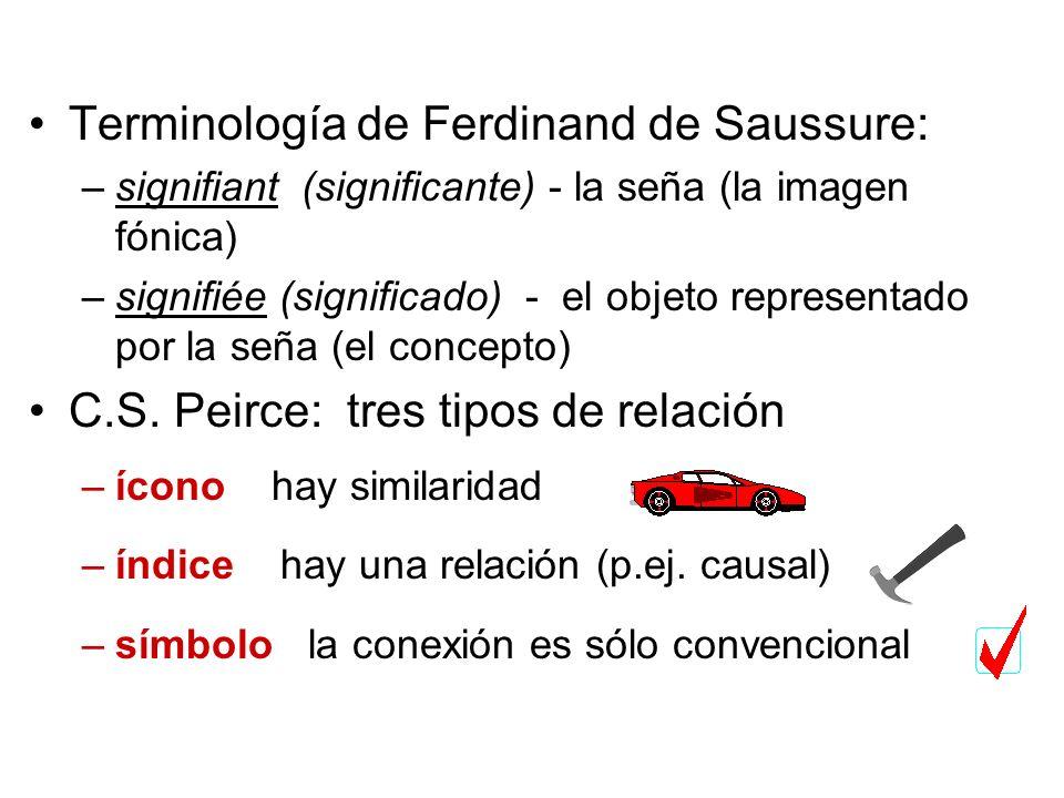 Terminología de Ferdinand de Saussure: –signifiant (significante) - la seña (la imagen fónica) –signifiée (significado) - el objeto representado por l