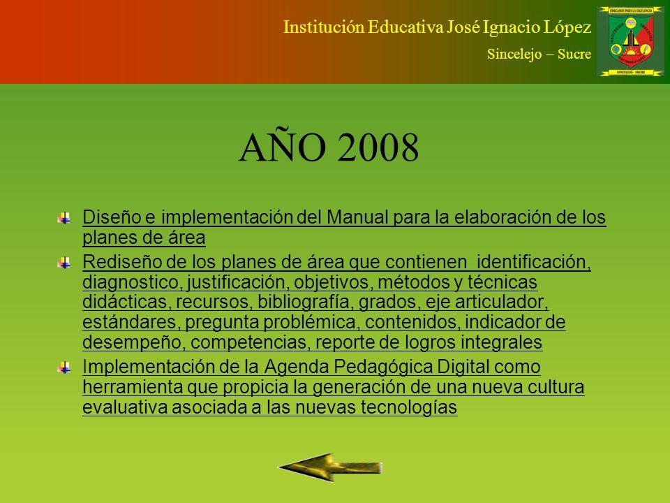 AÑO 2007 Diseño y programación de la Agenda Pedagógica Digital Aplicación de pruebas en competencias al finalizar cada periodo con metodología ICFESAp