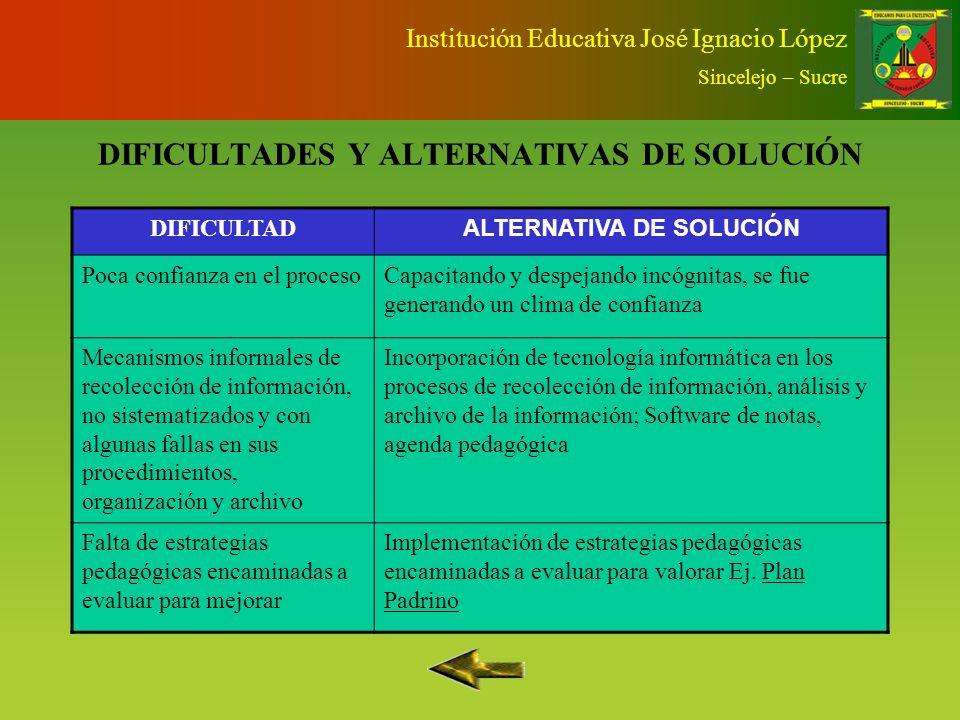 SEGUIMIENTO Y EVALUACIÓN Institución Educativa José Ignacio López Sincelejo – Sucre Docente evalúa con La herramienta Servidor con datos centralizados