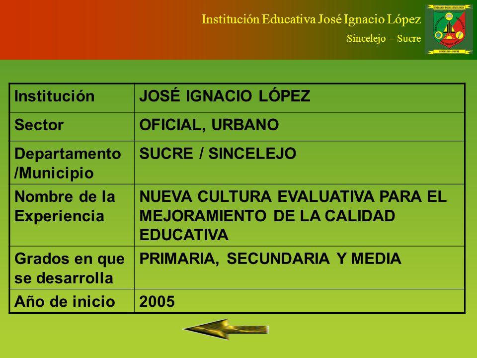 Institución Educativa José Ignacio López Sincelejo – Sucre Identificación Básica El Problema Evaluar para MejorarObjetivoDescripciónSeguimiento y Eval
