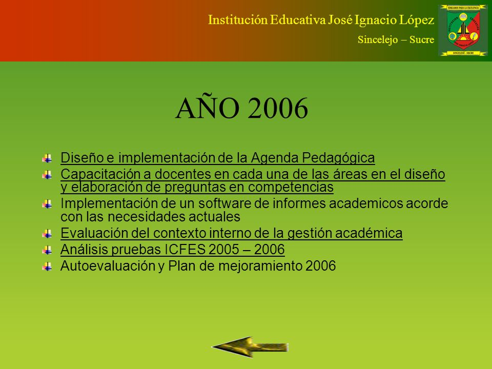 AÑO 2005 Fortalecimiento del consejo académico Diagnóstico y diseño de planes de área Análisis pruebas ICFES 2004 – 2005 Autoevaluación y plan de mejoramiento Institución Educativa José Ignacio López Sincelejo – Sucre