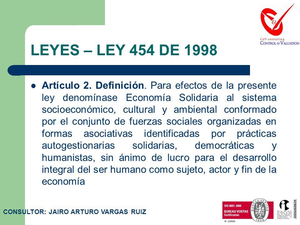 LEYES – LEY 454 DE 1998 Por la cual se determina el marco conceptual que regula la economía solidaria, se transforma el Departamento Administrativo Na