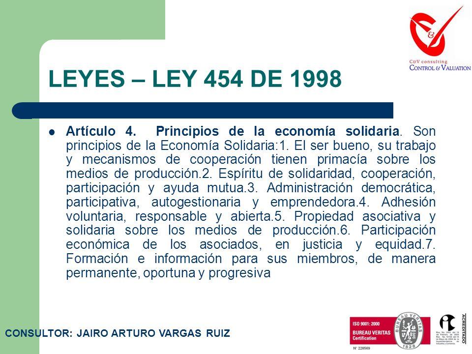 LEYES – LEY 454 DE 1998 Artículo 2. Definición. Para efectos de la presente ley denomínase Economía Solidaria al sistema socioeconómico, cultural y am