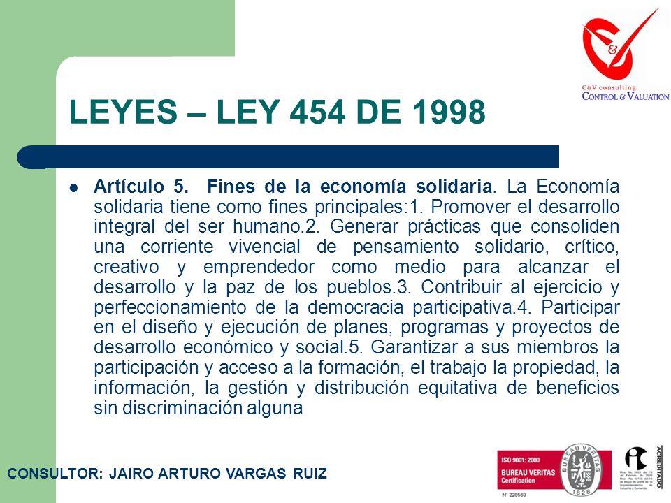 LEYES – LEY 454 DE 1998 Artículo 4. Principios de la economía solidaria. Son principios de la Economía Solidaria:1. El ser bueno, su trabajo y mecanis
