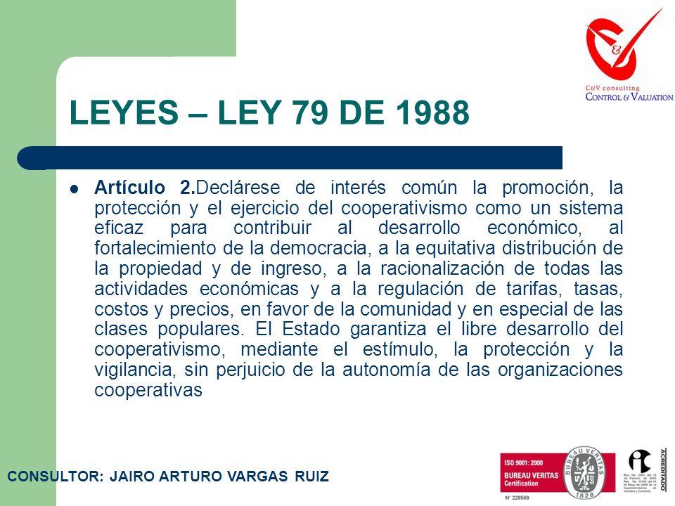 LEYES – LEY 79 DE 1988 Artículo 1.El propósito de la presente ley es dotar al sector cooperativo de un. marco propicio para su desarrollo como parte f