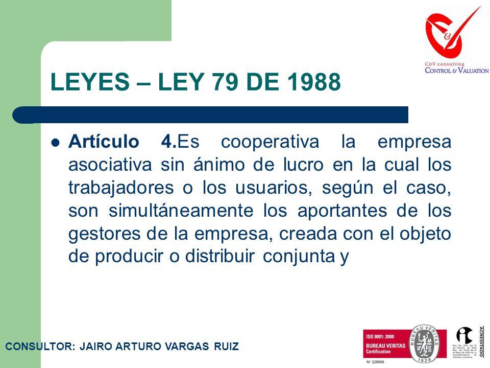 LEYES – LEY 79 DE 1988 Artículo 3.Es acuerdo cooperativo el contrato que se celebra por un número determinado de personas, con el objetivo de crear y