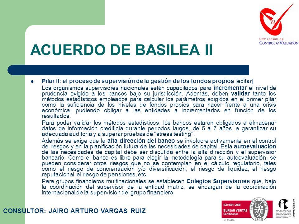 ACUERDO DE BASILEA II Pilar I: el cálculo de los requisitos mínimos de capital [editar]editar Constituye el núcleo del acuerdo e incluye una serie de