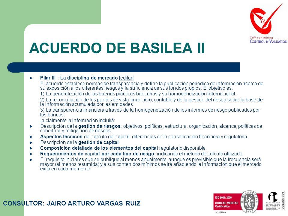 ACUERDO DE BASILEA II Pilar II: el proceso de supervisión de la gestión de los fondos propios [editar]editar Los organismos supervisores nacionales es