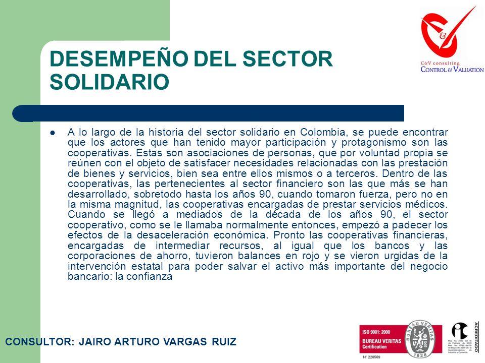DESEMPEÑO DEL SECTOR SOLIDARIO A lo largo de la historia del sector solidario en Colombia, se puede encontrar que los actores que han tenido mayor participación y protagonismo son las cooperativas.