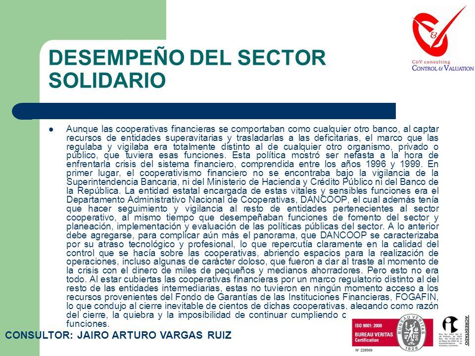 DESEMPEÑO DEL SECTOR SOLIDARIO A lo largo de la historia del sector solidario en Colombia, se puede encontrar que los actores que han tenido mayor par