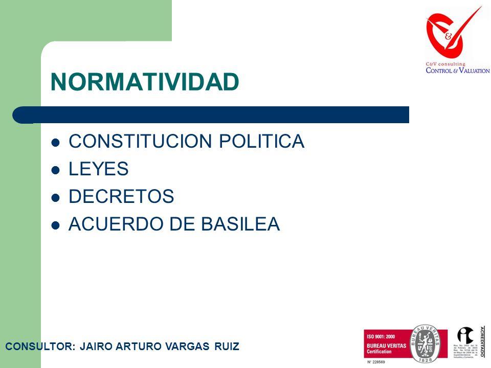 NORMATIVIDAD CONSTITUCION POLITICA LEYES DECRETOS ACUERDO DE BASILEA CONSULTOR: JAIRO ARTURO VARGAS RUIZ