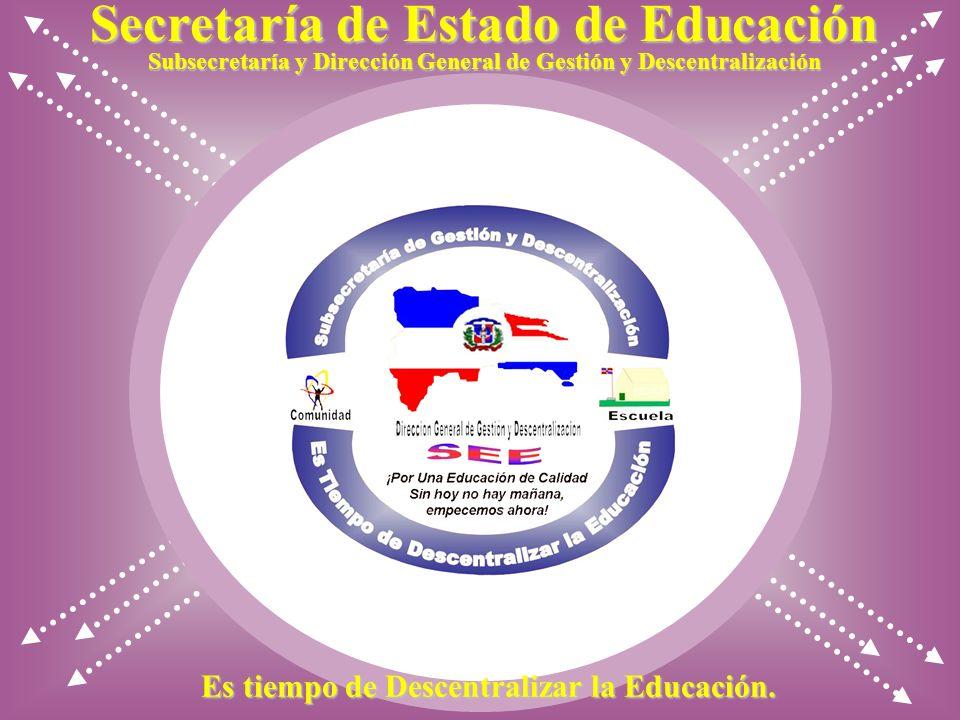 Secretaría de Estado de Educación Subsecretaría y Dirección General de Gestión y Descentralización Es tiempo de Descentralizar la Educación.