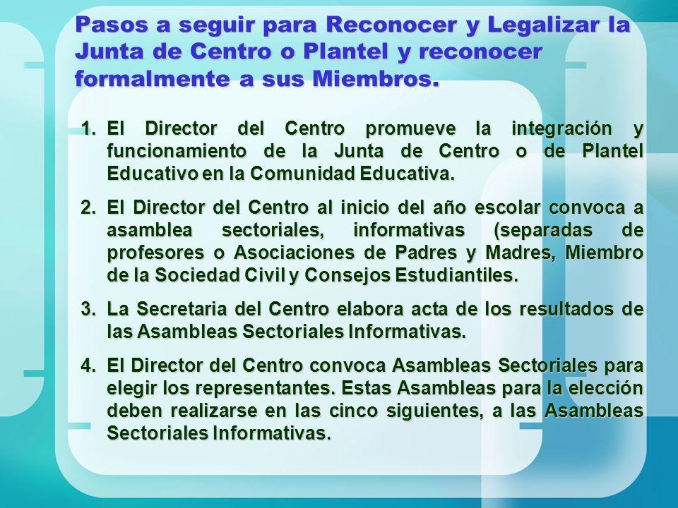 Pasos a seguir para Reconocer y Legalizar la Junta de Centro o Plantel y reconocer formalmente a sus Miembros. 1.El Director del Centro promueve la in