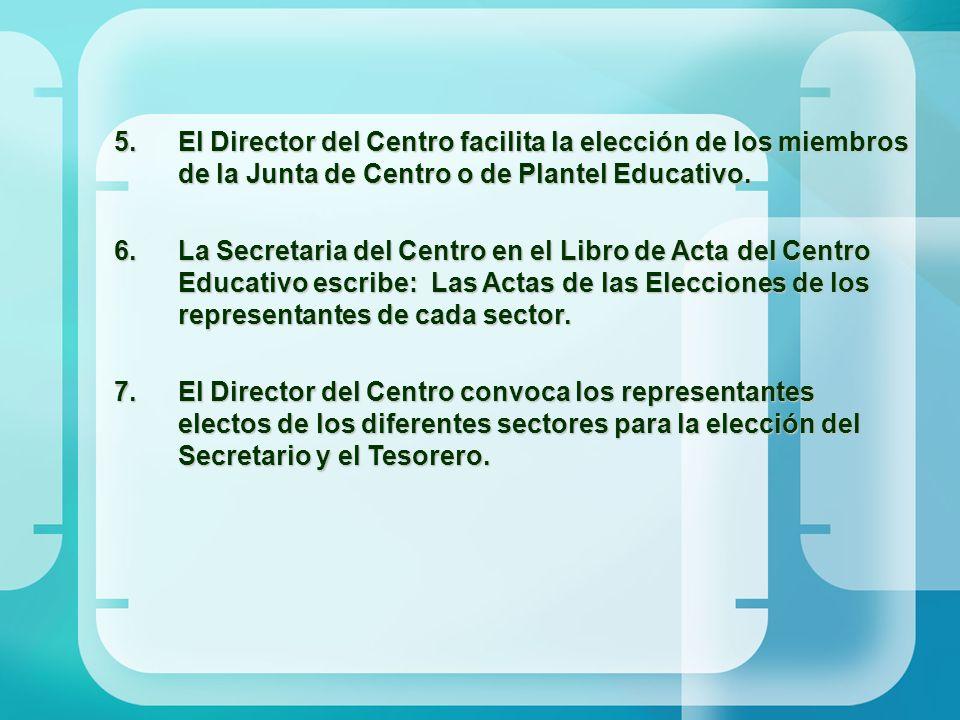 5.El Director del Centro facilita la elección de los miembros de la Junta de Centro o de Plantel Educativo. 6.La Secretaria del Centro en el Libro de