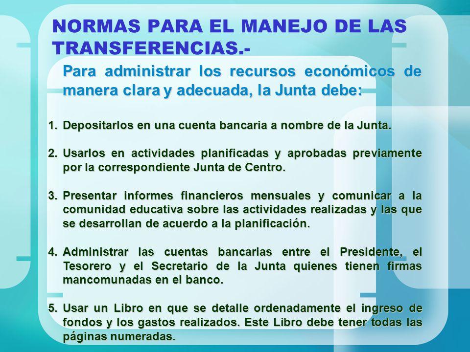 NORMAS PARA EL MANEJO DE LAS TRANSFERENCIAS.- Para administrar los recursos económicos de manera clara y adecuada, la Junta debe: 1.Depositarlos en un