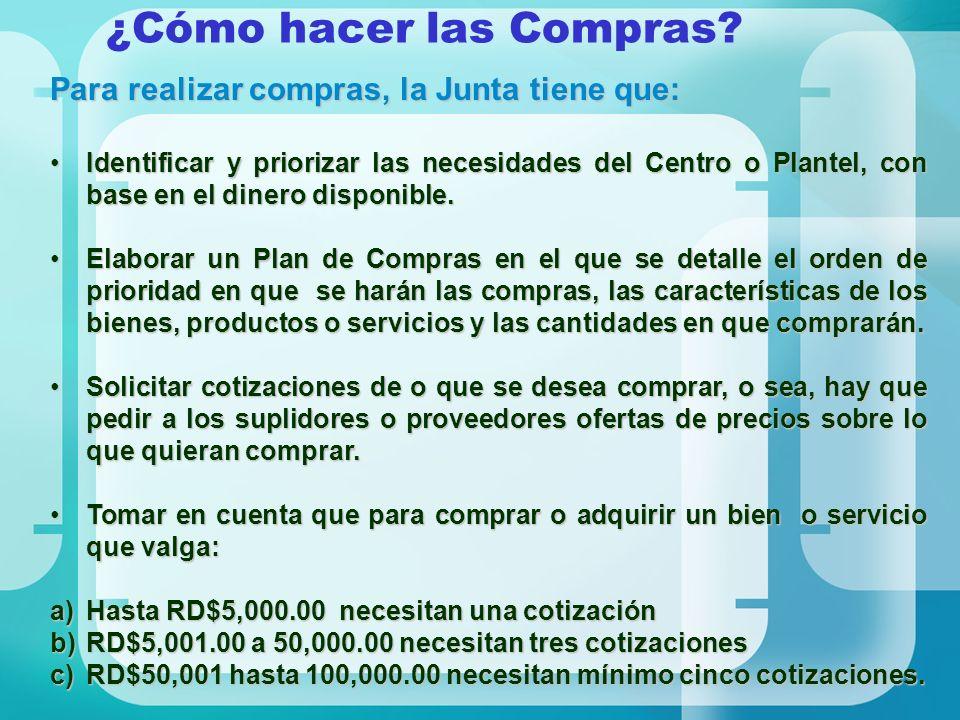 ¿Cómo hacer las Compras? Para realizar compras, la Junta tiene que: Identificar y priorizar las necesidades del Centro o Plantel, con base en el diner