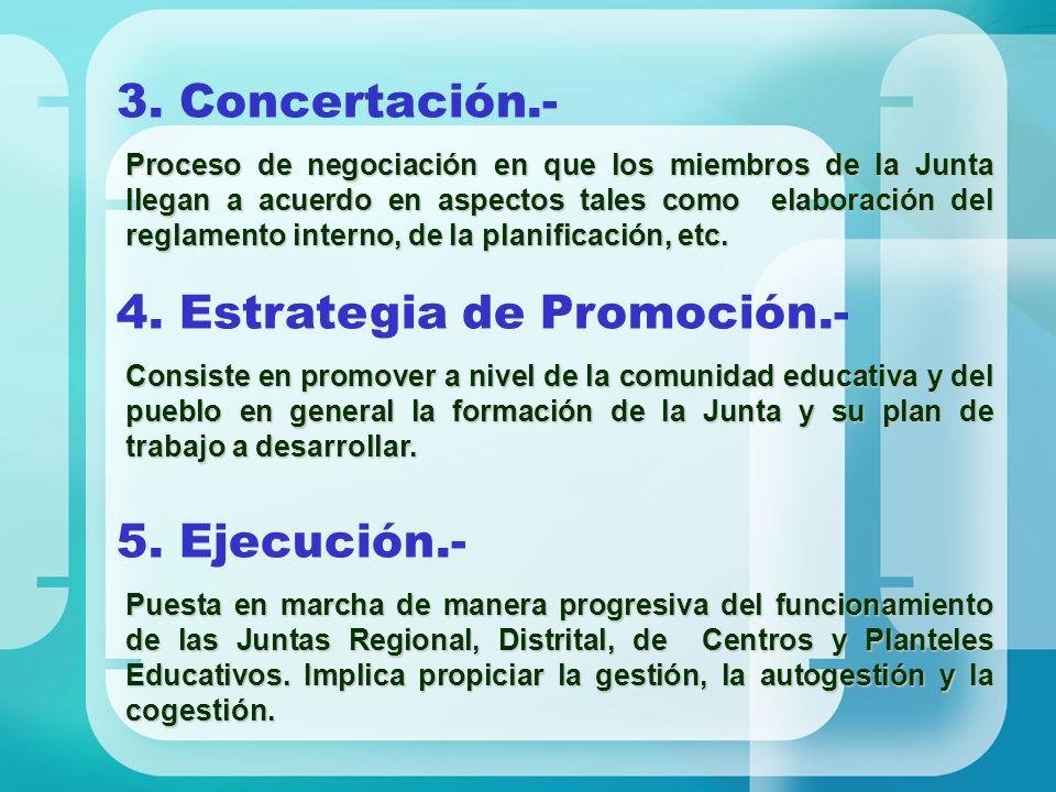 3. Concertación.- Proceso de negociación en que los miembros de la Junta llegan a acuerdo en aspectos tales como elaboración del reglamento interno, d