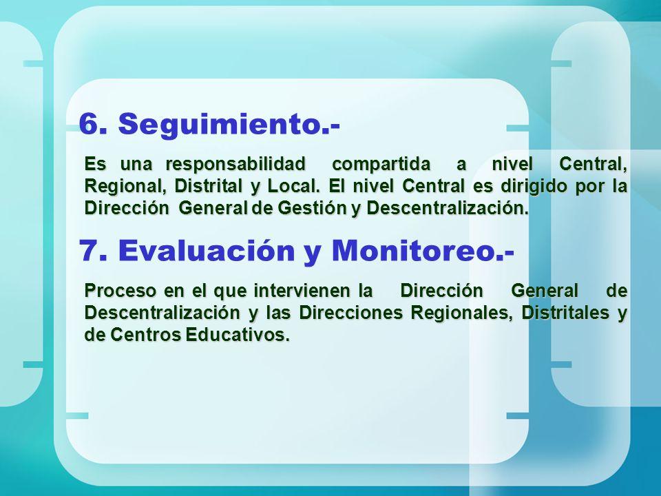 6. Seguimiento.- Es una responsabilidad compartida a nivel Central, Regional, Distrital y Local. El nivel Central es dirigido por la Dirección General