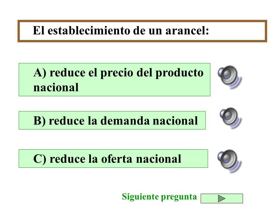 El establecimiento de un arancel: B) reduce la demanda nacional C) reduce la oferta nacional A) reduce el precio del producto nacional Siguiente pregu