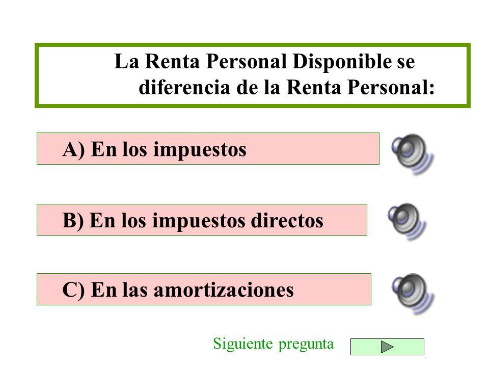 La Renta Personal Disponible se diferencia de la Renta Personal: B) En los impuestos directos C) En las amortizaciones A) En los impuestos Siguiente p