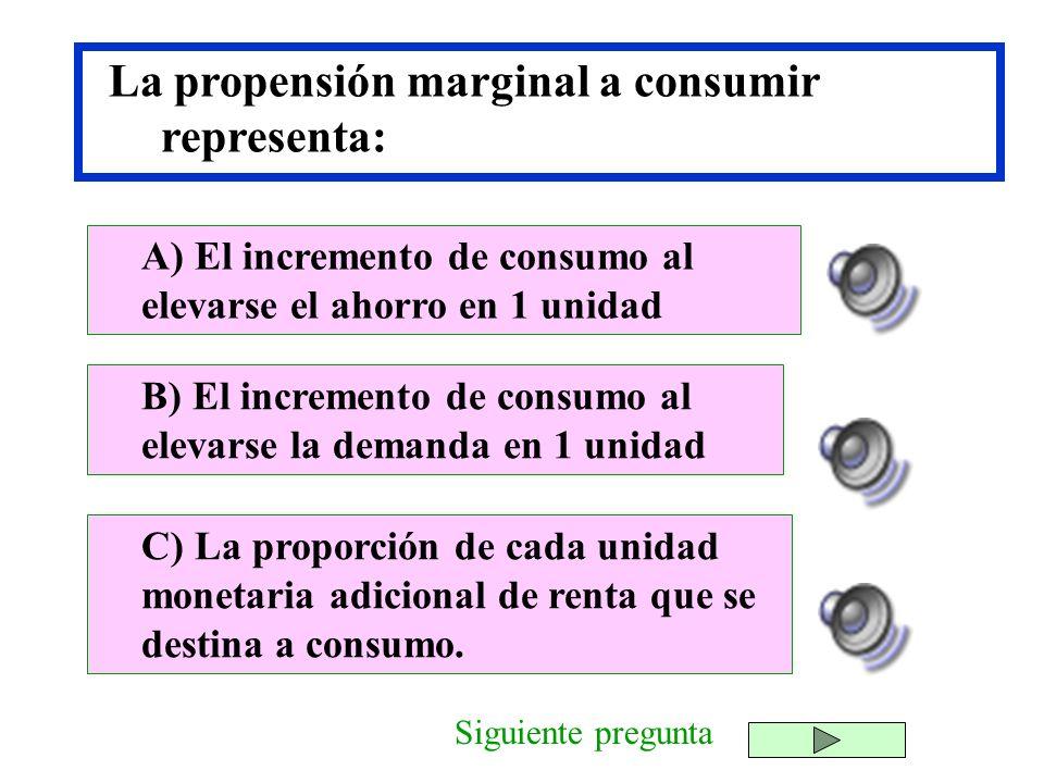 La propensión marginal a consumir representa: B) El incremento de consumo al elevarse la demanda en 1 unidad C) La proporción de cada unidad monetaria
