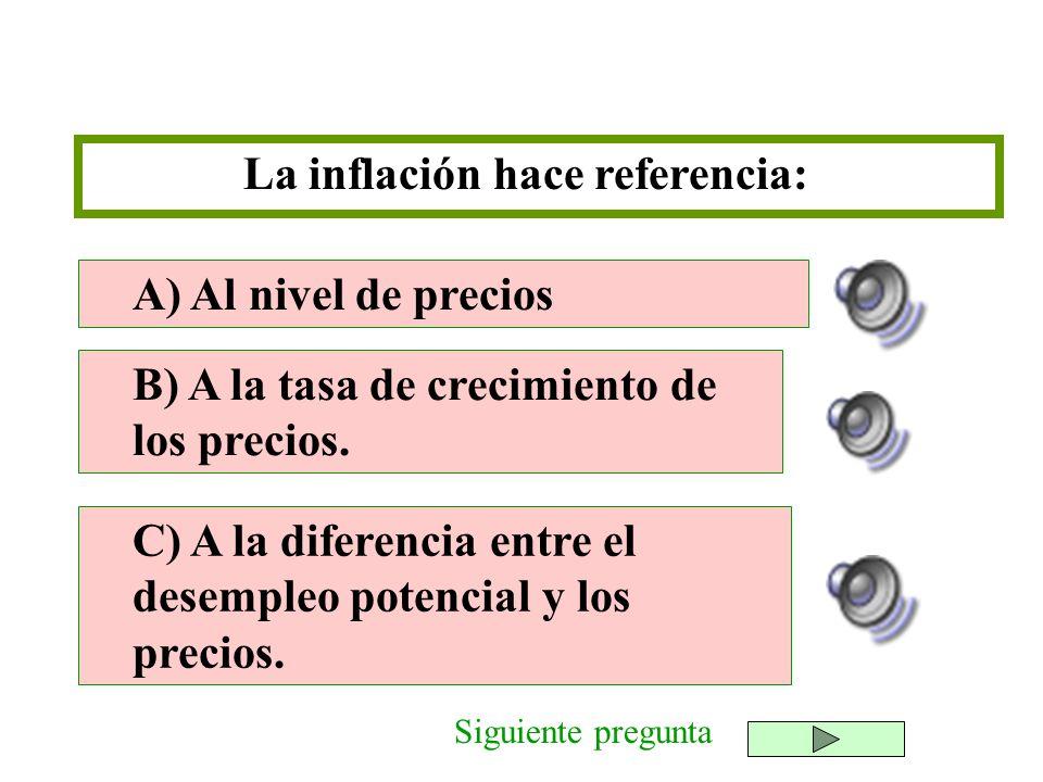 La inflación hace referencia: B) A la tasa de crecimiento de los precios. C) A la diferencia entre el desempleo potencial y los precios. A) Al nivel d