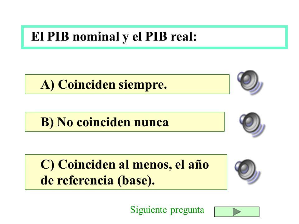 El PIB nominal y el PIB real: B) No coinciden nunca C) Coinciden al menos, el año de referencia (base). A) Coinciden siempre. Siguiente pregunta