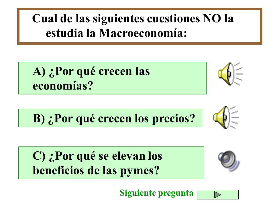 Cual de las siguientes cuestiones NO la estudia la Macroeconomía: B) ¿Por qué crecen los precios? C) ¿Por qué se elevan los beneficios de las pymes? A