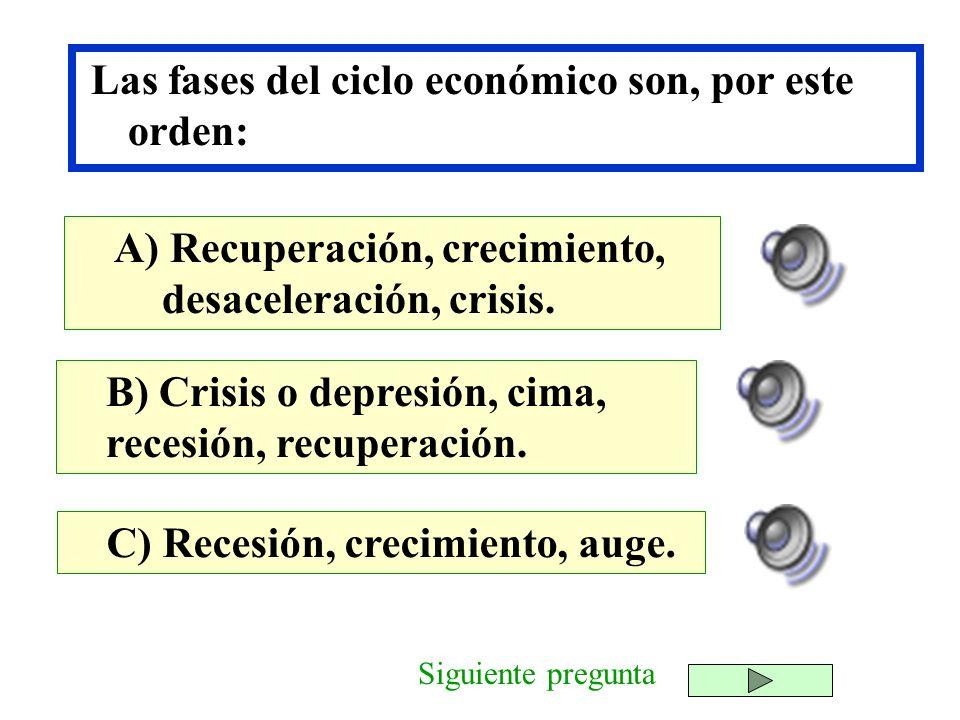 Las fases del ciclo económico son, por este orden: B) Crisis o depresión, cima, recesión, recuperación. C) Recesión, crecimiento, auge. A) Recuperació