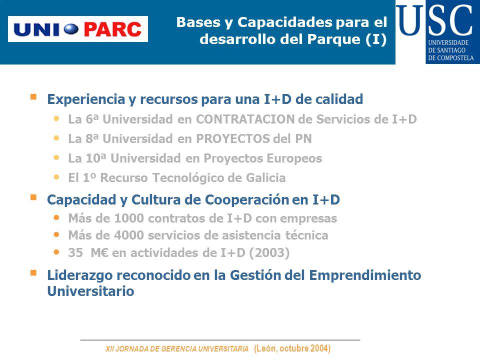 XII JORNADA DE GERENCIA UNIVERSITARIA (León, octubre 2004) Bases y Capacidades para el desarrollo del Parque (I) Experiencia y recursos para una I+D d