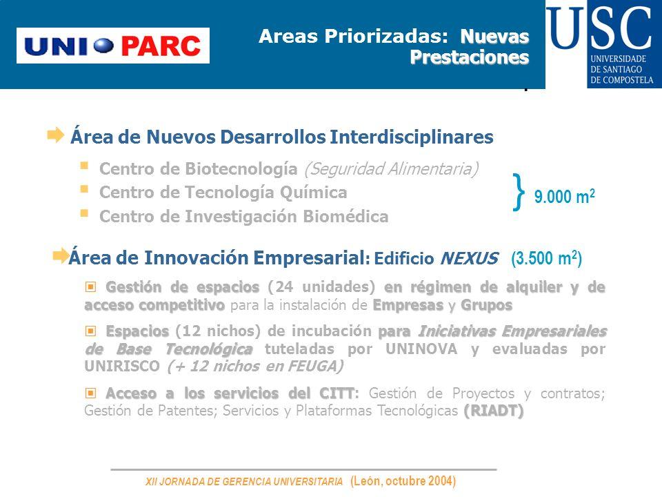 XII JORNADA DE GERENCIA UNIVERSITARIA (León, octubre 2004) Nuevas Prestaciones Areas Priorizadas: Nuevas Prestaciones. Área de Nuevos Desarrollos Inte