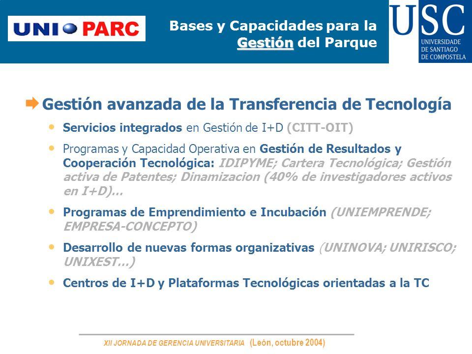 XII JORNADA DE GERENCIA UNIVERSITARIA (León, octubre 2004) Gestión Bases y Capacidades para la Gestión del Parque Gestión avanzada de la Transferencia