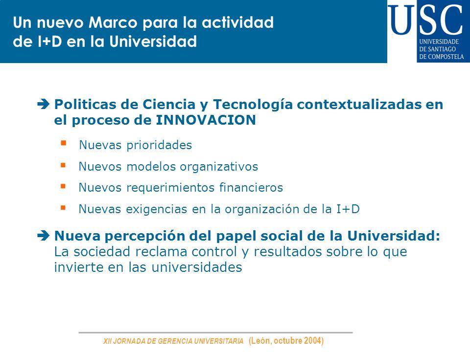 XII JORNADA DE GERENCIA UNIVERSITARIA (León, octubre 2004) Politicas de Ciencia y Tecnología contextualizadas en el proceso de INNOVACION Nuevas prior