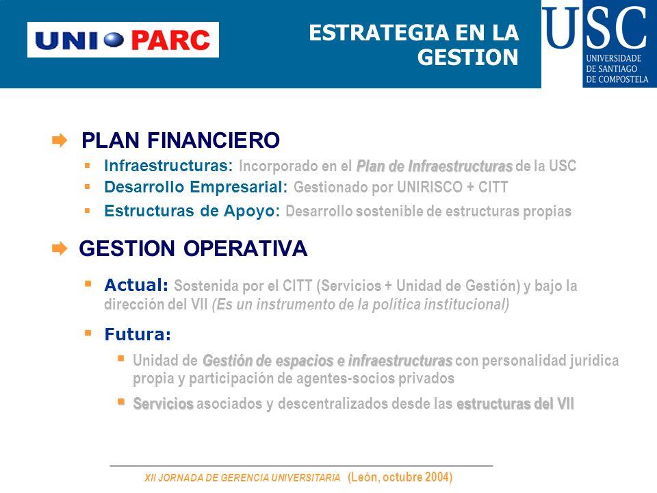 XII JORNADA DE GERENCIA UNIVERSITARIA (León, octubre 2004) ESTRATEGIA EN LA GESTION. PLAN FINANCIERO Plan de Infraestructuras Infraestructuras: Incorp