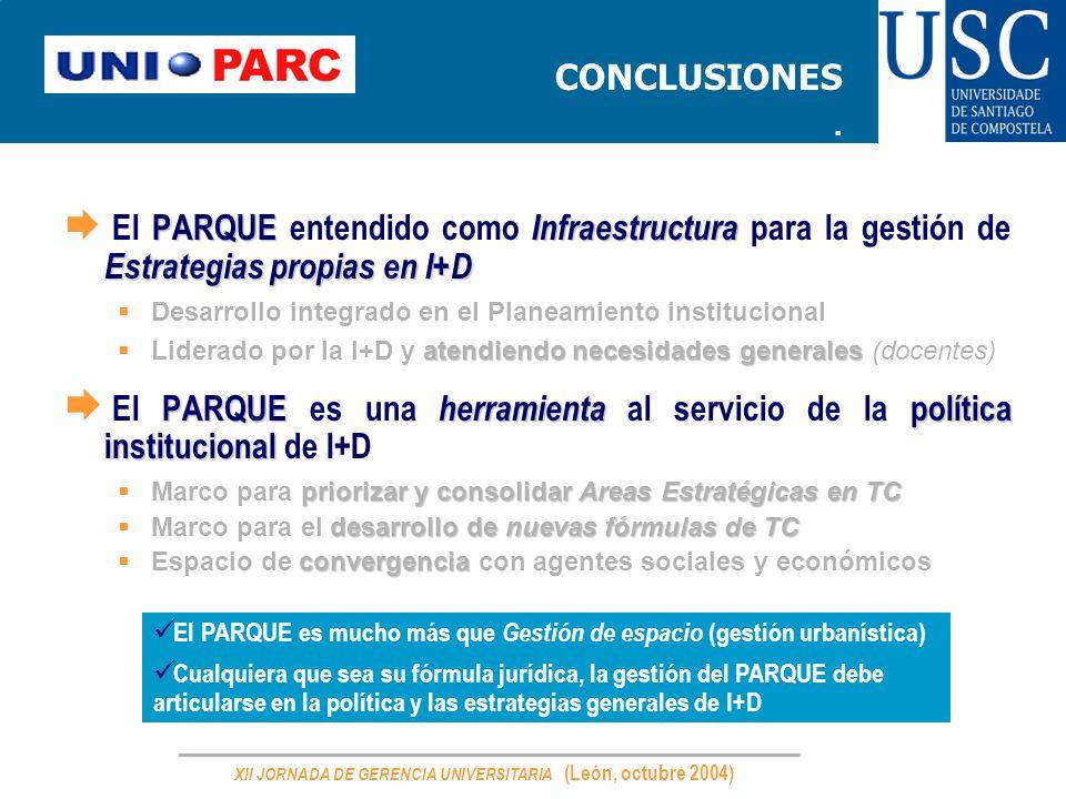 XII JORNADA DE GERENCIA UNIVERSITARIA (León, octubre 2004) CONCLUSIONES. PARQUE Infraestructura Estrategias propias en I+D El PARQUE entendido como In